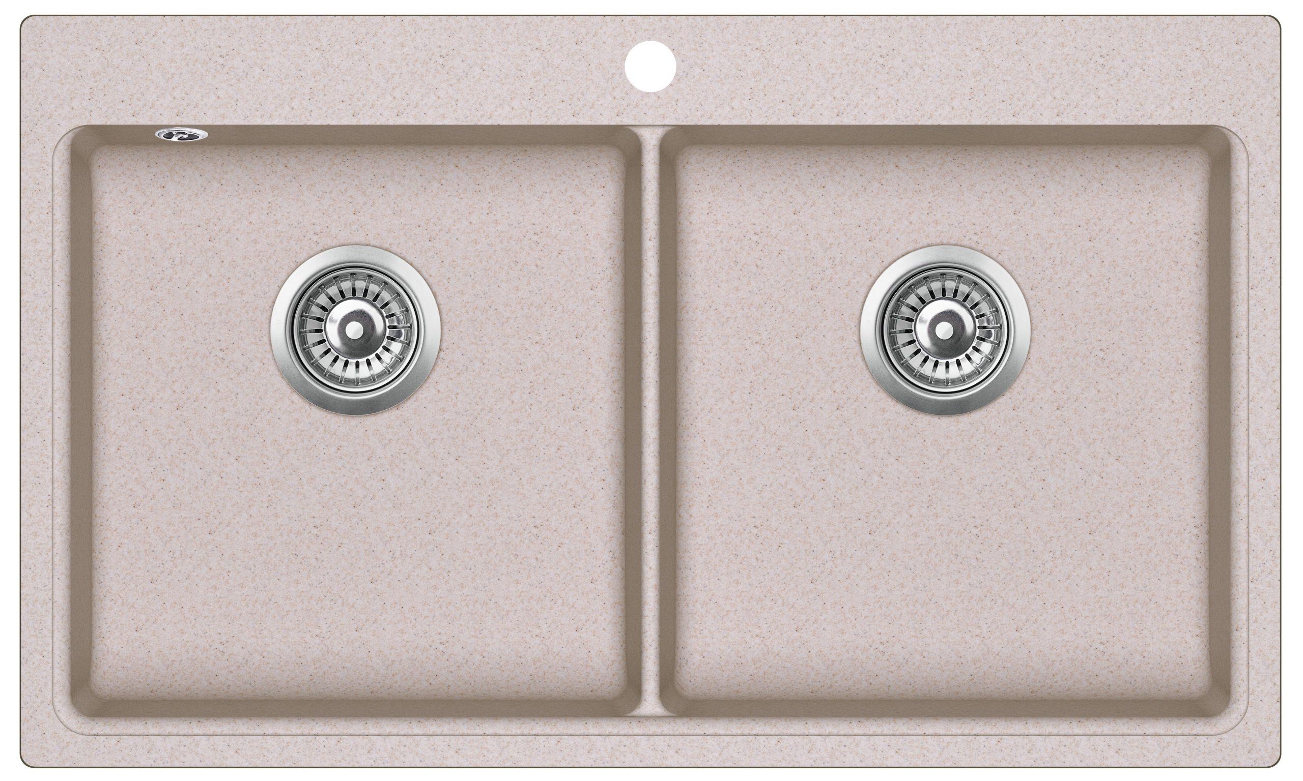 EVIDO Quadro 9 gránit mosogató 860x510 két med. homok